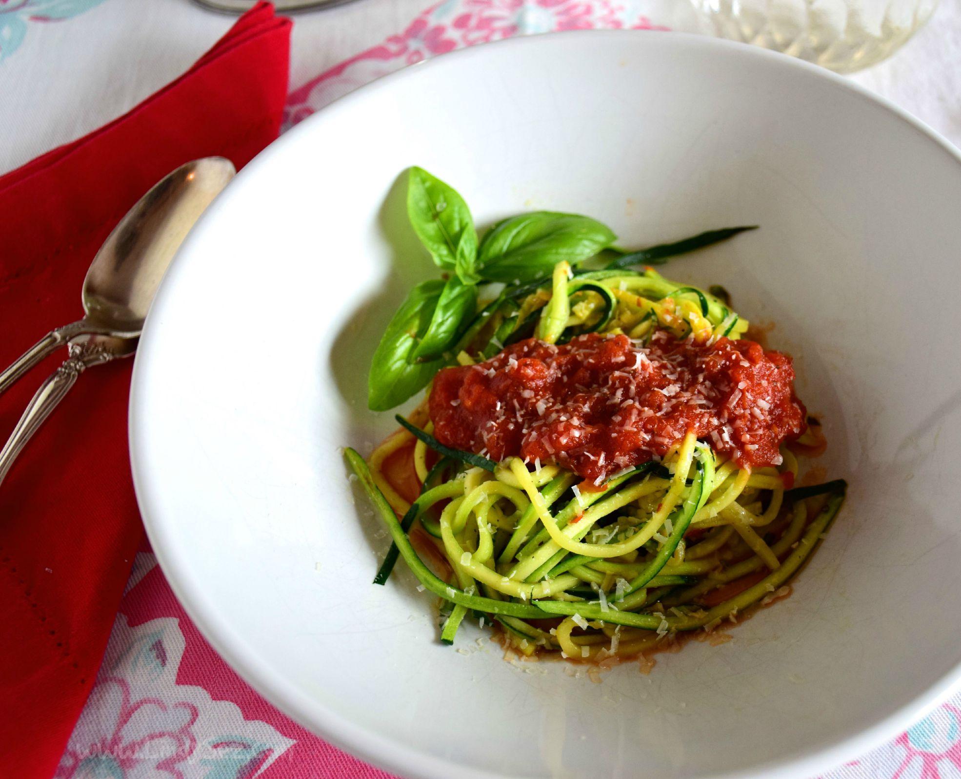 Zucchini Spaghetti with Tomato Sauce | LindySez | Recipes
