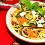 zucchini spaghetti with linguine olives and feta