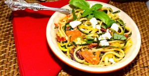 zucchini spaghetti with linguine olives and feta