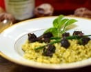 Risotto with basil pesto and escargot