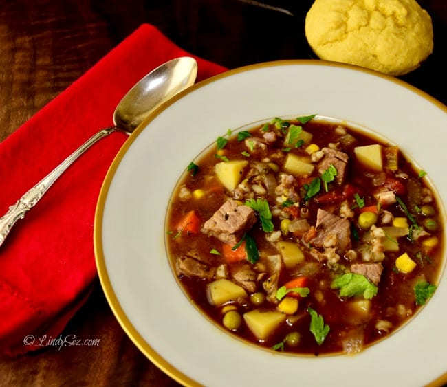 A bowl of hearty beef barley soup