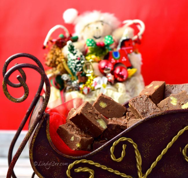 Nana B's Fudge in a sleigh