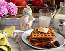 buttermilk waffles on a plate