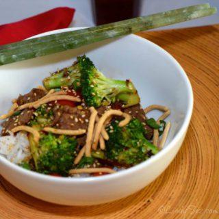 Quick Low-Fat Beef Broccoli Stir-Fry with chopsticks