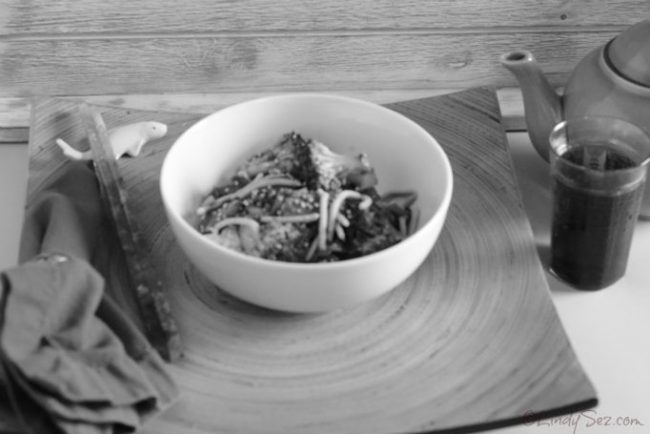Quick Low-Fat Beef Broccoli Stir-Fry black and white