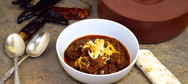 Homemade Chili Colorado in a white bowl