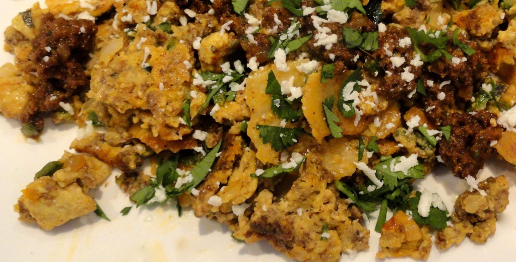 Chorizo and eggs with Crispy Tortilla