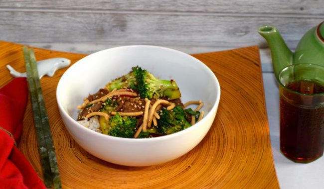 Quick Low-Fat Beef Broccoli Stir-Fry in white bowl
