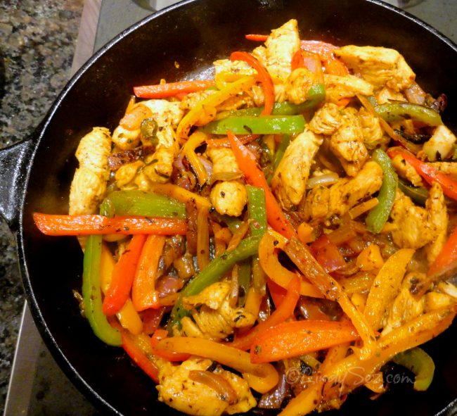 a pan of Perfect Chicken Fajitas