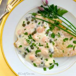 Sole with a Light Creamy Shrimp Sauce