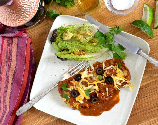 turkey enchiladas with homemade chili gravy