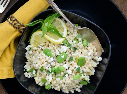 Israeli Couscous with Favas, Feta and Mint
