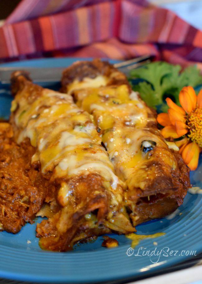 shredded chicken enchiladas with red sauce