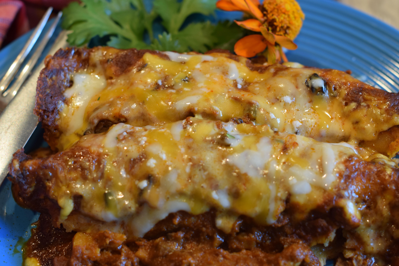 Chicken enchilada casserole with red sauce