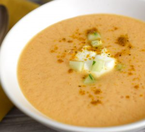 Chilled Cantaloupe Curry Soup with garnish
