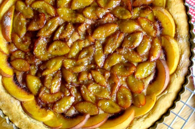 french plum tart cooked