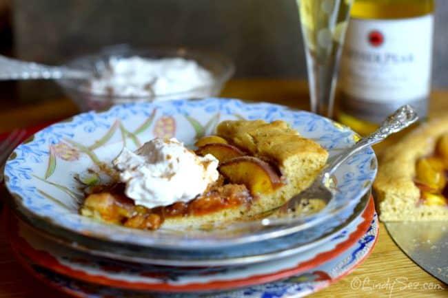 french plum tart served