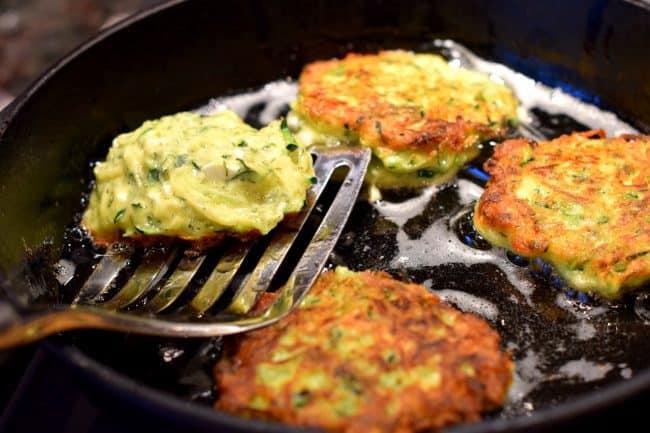 zucchini latke with fresh herbs and feta