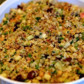 Favorite Cornbread Stuffing ready for the oven