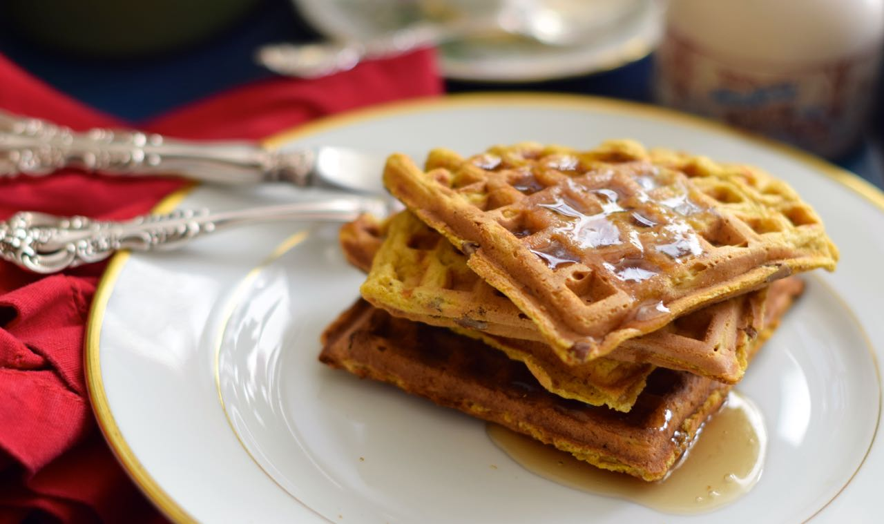 This recipe for Pumpkin Buttermilk Pecan Waffles serves up a crispy ...