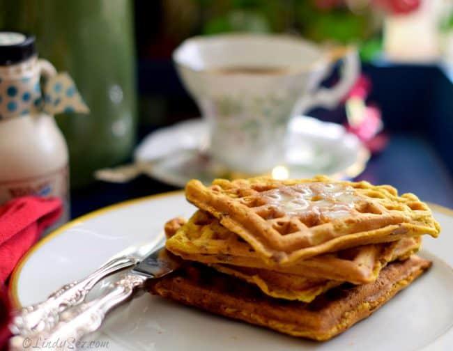 pumpkin buttermilk pecan waffles