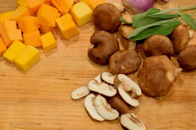 image of butternut squash and shiitake mushrooms