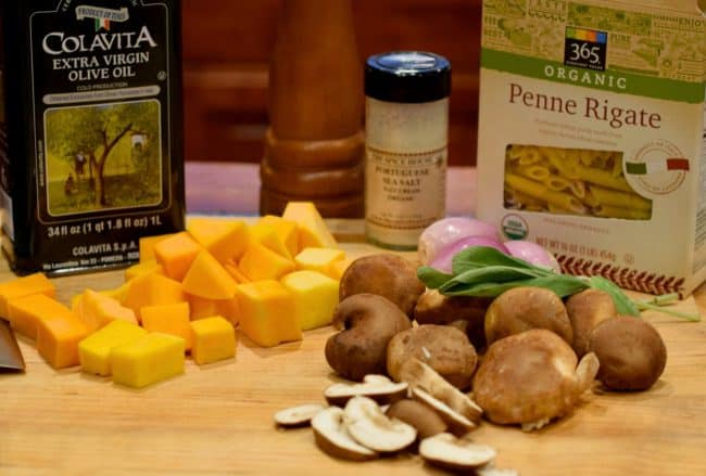 Ingredients image for Penne with Roasted Butternut Squash and Shiitake