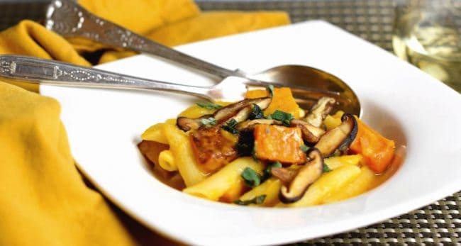Penne with Roasted Butternut Squash and Shiitake