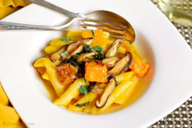 Penne with Roasted butternut and Shiitake