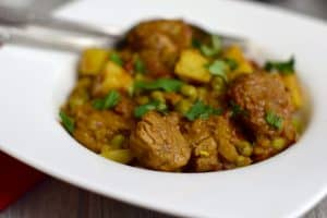 Tagine of Pork with Sweet Potato and Ras-el-hanout super close up
