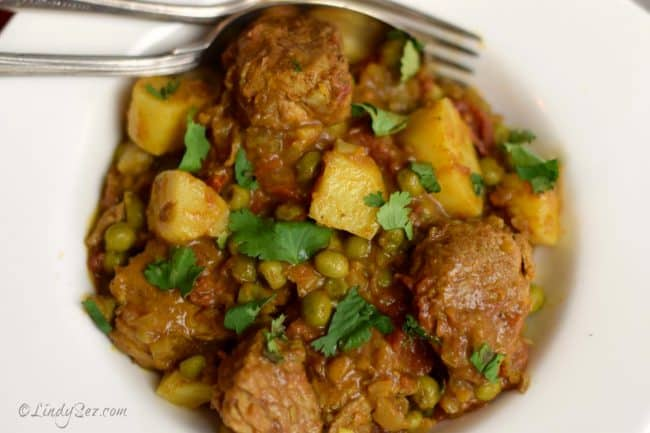 Tagine of Pork with Sweet Potato and Ras-el-hanout overhead shot of yummy dish