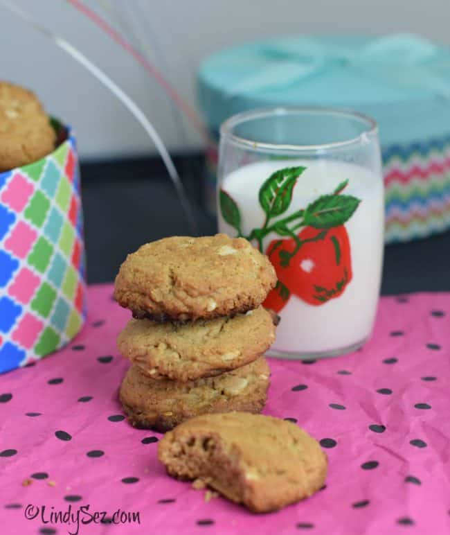 almond butter cookies your way on colorful paper with milk