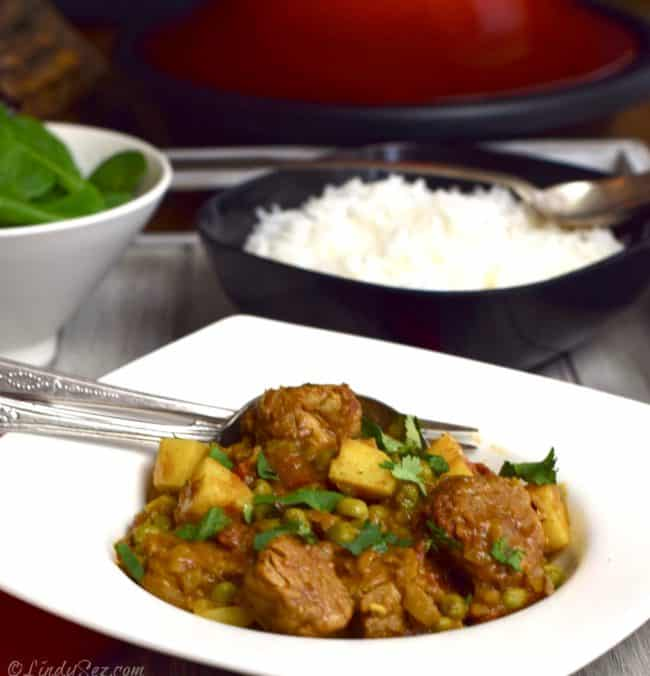 Tagine of Pork with Sweet Potato and Ras-el-hanout and rice