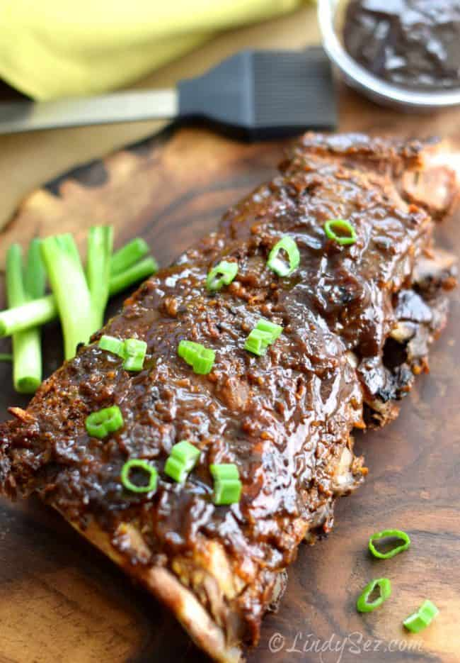Finished rack of Easy Oven-baked Asian Baby Back Ribs