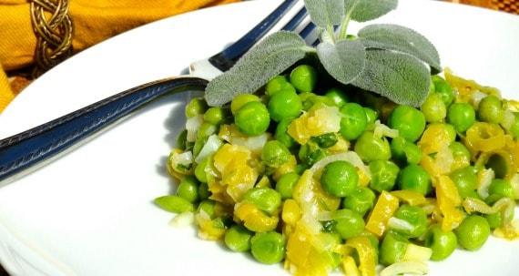Fresh spring peas and fresh leek vegetable dish.