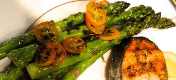 spring asparagus and kumquats roasted