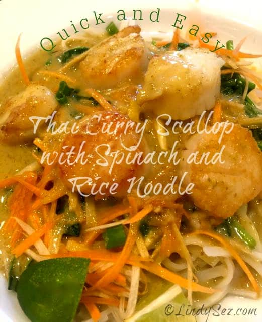 Thai Curry Scallop with Spinach and Rice Noodles is an easy Thai dish, gluten-free and bonus lesson on how to cook a perfect scallop