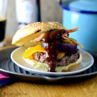 Coffee-Rubbed Cheeseburgers with Texas BBQ Sauce