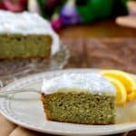 Eggplant Cornmeal Cake with Whipped Orange Frosting