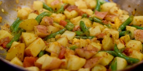 easy curried potatoes and green beans