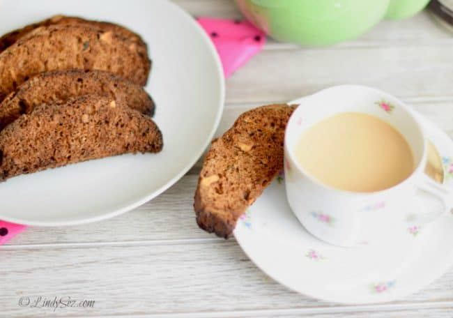 zucchini carrot biscotti with walnuts with a cup of coffee