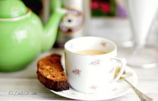 carrot zucchini biscotti with a cup