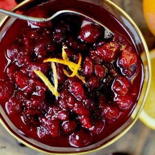 shot from above a bowl of Easy Fresh Cranberry Orange Sauce