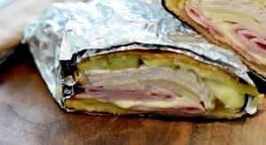 cuban sandwich wrapped in foil wrapper
