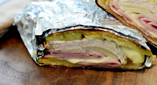 cuban sandwich wrapped in foil wrapper