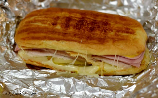 a cooked Cuban sandwich on foil