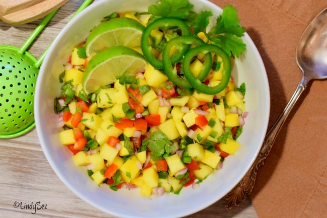Mango Salsa in a bowl ready for curry snapper