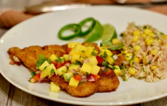 Simple Panfried Curry Snapper with Mango Salsa header
