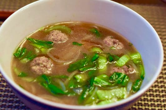 Quick Pho with Ginger Pork Meatballs header shot unfinished