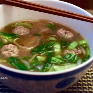 a warm bowl of Quick Pho with Ginger Pork Meatballs